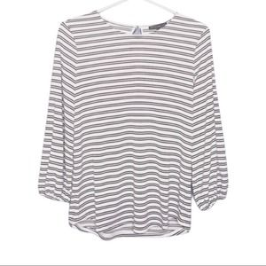 Adrianna Papell Black Striped Blouse 3/4 Sleeve S